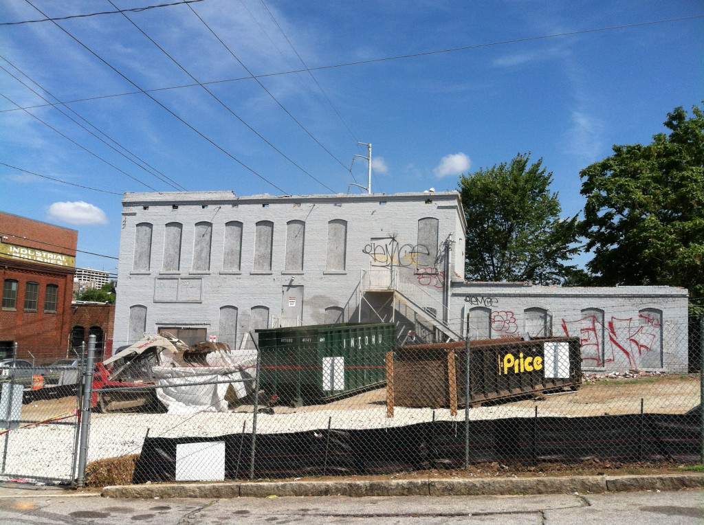 The Historic Trio Laundry Building in the Old Fourth Ward in Atlanta with the top Cornice partially removed in Late August 2014 - Photograph Courtesy of Paul Hammock