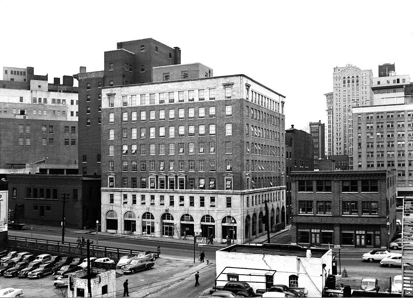 The Switchyards Building and its old neighbor the Baptist Home Mission Building on January 9, 1950 - Georgia State University Library