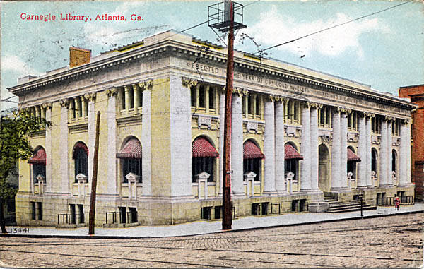 Carnegie Library Atlanta Postcard from 1910 - Historic Postcard Collection - Georgia Archives