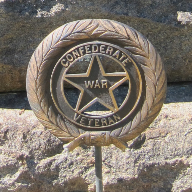Close up of circular medallions that mark the graves of Confederate veterans - Ray Keen 2014