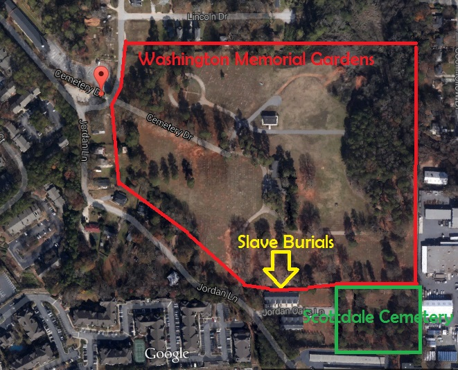 Map of Washington Memorial Gardens showing Slave Burial Areas and Scottdale Cemetery - Google Maps 2014