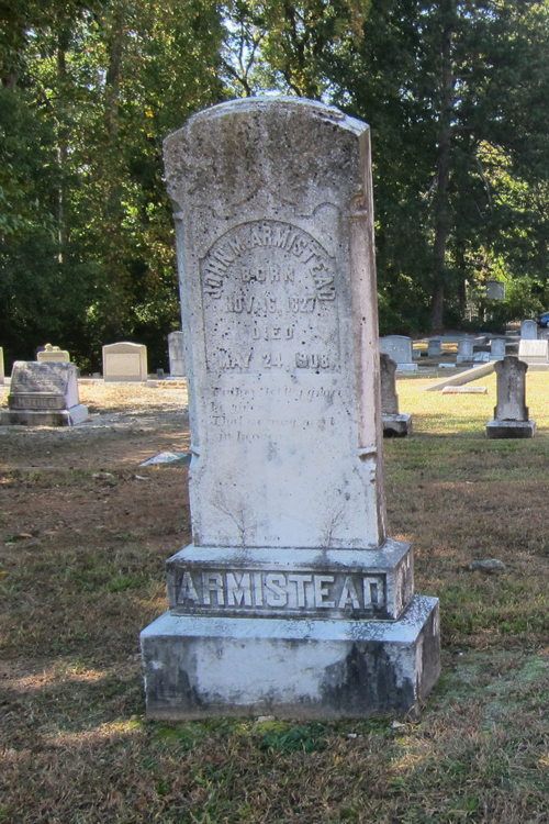 The John Armistead Headstone at Peachtree Baptists Cemetery - Ray Keen 2014