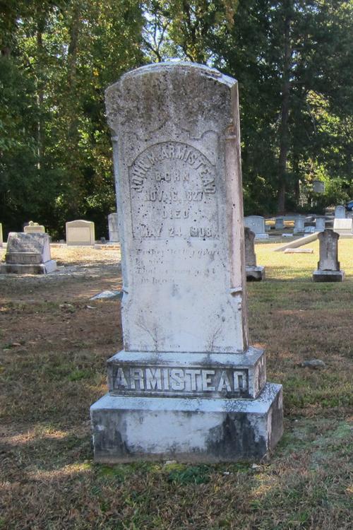 The John Armistead Headstone at Peachtree Baptists Cemetery - Ray Keen 2014