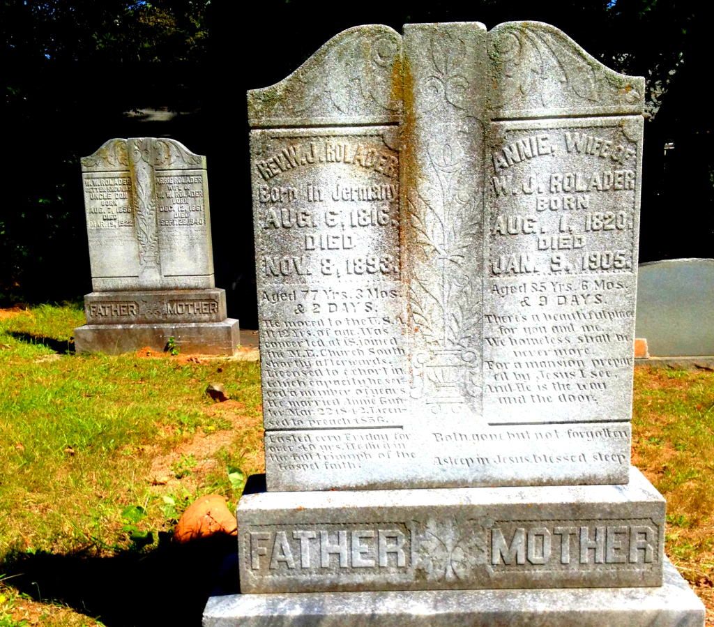 The Rev WJ Rolader died 1898 and his wife Annie died 1905 - In the Background is Uncle Don Rolader died 1922 and his wife Arrie died 1940 - Sardis Cemetery - History Atlanta 2014