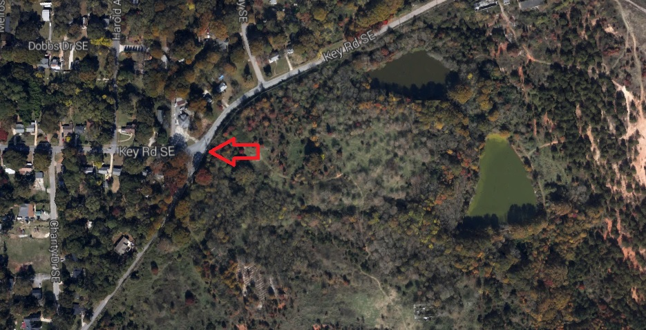 The Trail Starts Where Key Road Merges Into Fayetteville Road - Google Earth 2014