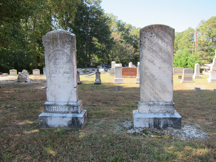 View of the Peachtree Baptist Church cemetery with the graves of John M Armistead and his wife Patience Elizabeth Todd Armistead in the foreground - Ray Keen 2014