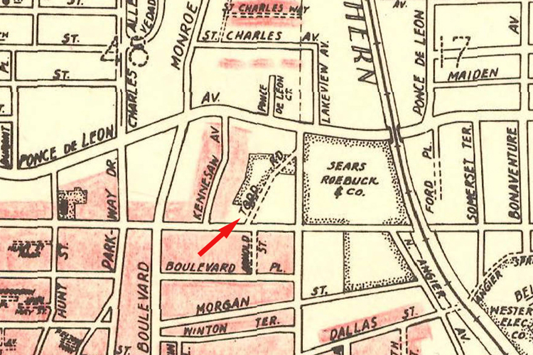 A 1911 map that shows the location of the Todd Road to the west of the old Sears building on Ponce De Leon Avenue - Courtesy of Andrew Wood