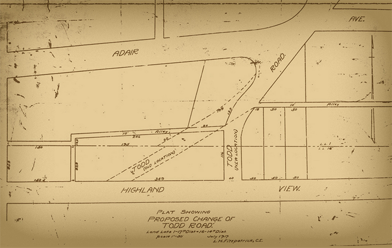 A plan that shows the 1917 change of the upper segment of the Todd Road - Courtesy of the Virginia Highland Civic Association