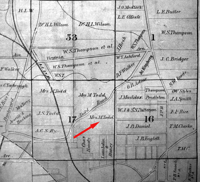 An 1893 map of Todd Road cutting through property owned by Martha Todd - Originally all of land lot 17 shown in this map was owned by the Todds - Richard Todd died in 1851 - Kenan Research Center