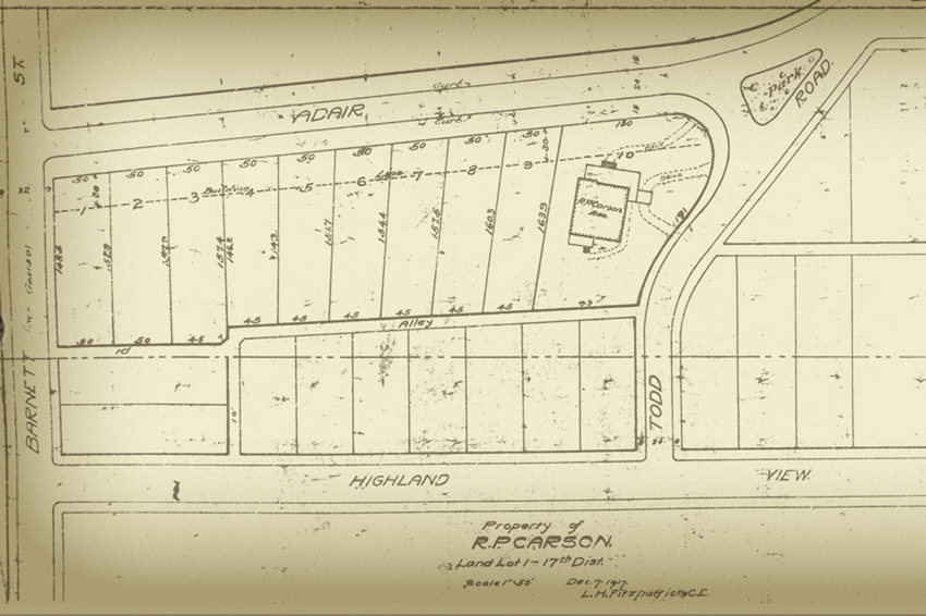 The Carson House location on Todd Road - Courtesy of the Virginia Highland Civic Association