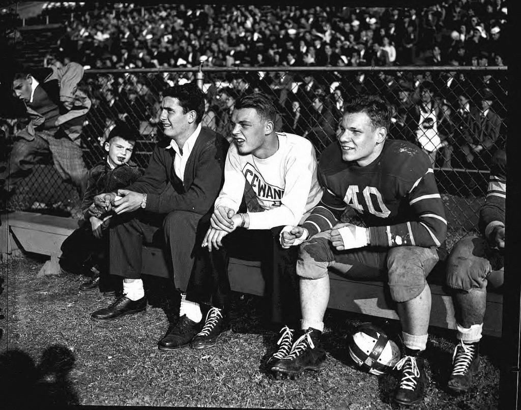 The Georgia Tech Football bench on Thanksgiving Day in 1945 - Georgia State University Archives