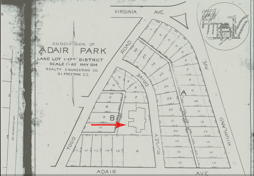 This 1914 map shows the property subdivided into residential lots ready for development with the existing Adair Mansion - Courtesy of the Virginia Highland Civic Association