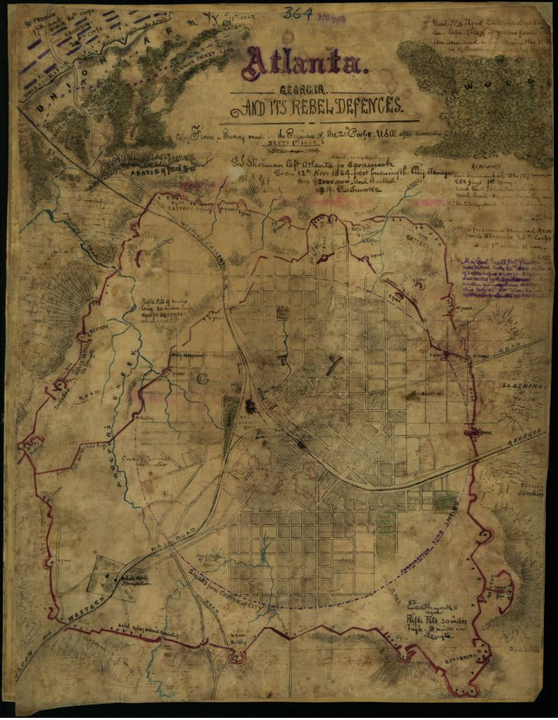 Atlanta and its rebel defences - map by Robert Knox Sneden - Depicts the situation in the city as of September 1, 1864 - U.S. Library of Congress