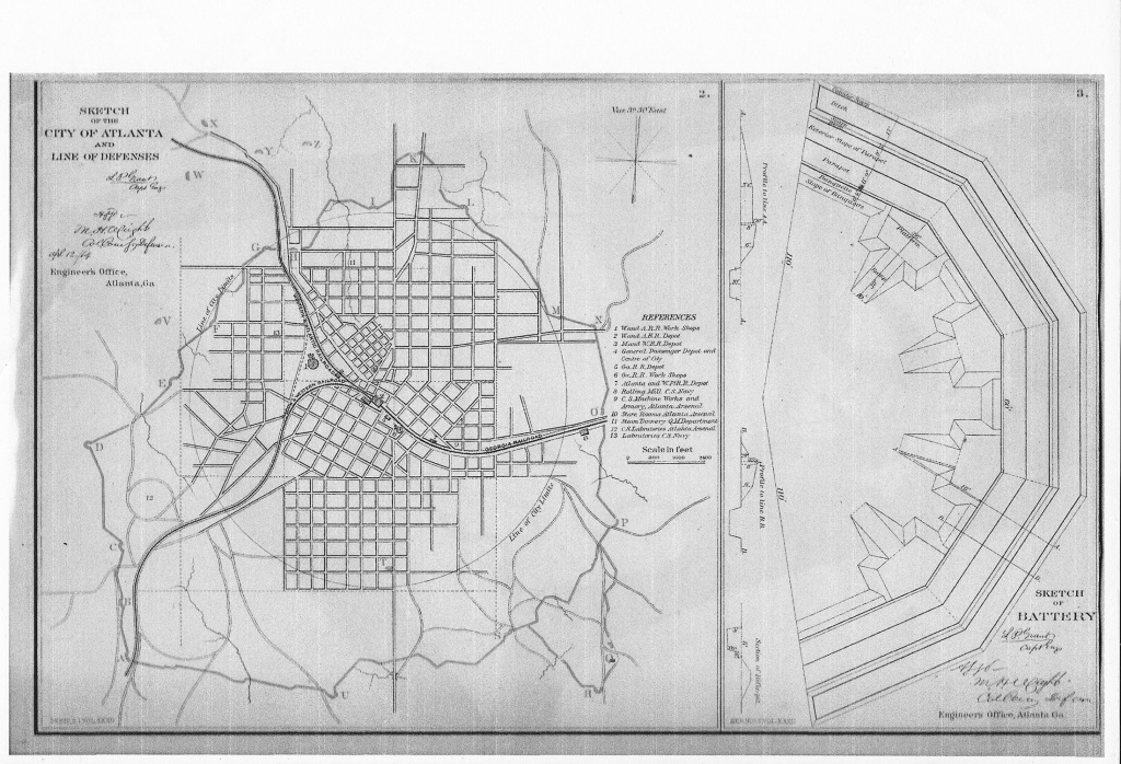 Fortifications of Atlanta drafted by L.P. Grant - U.S. Library of Congress