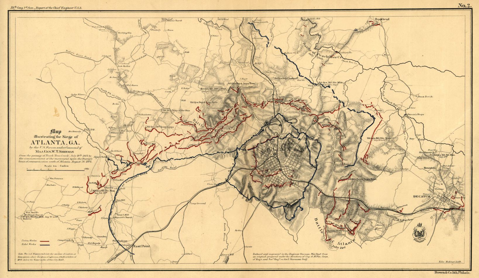 Map Of The Siege Of Atlanta Orlando Poe Us Library Of Congress