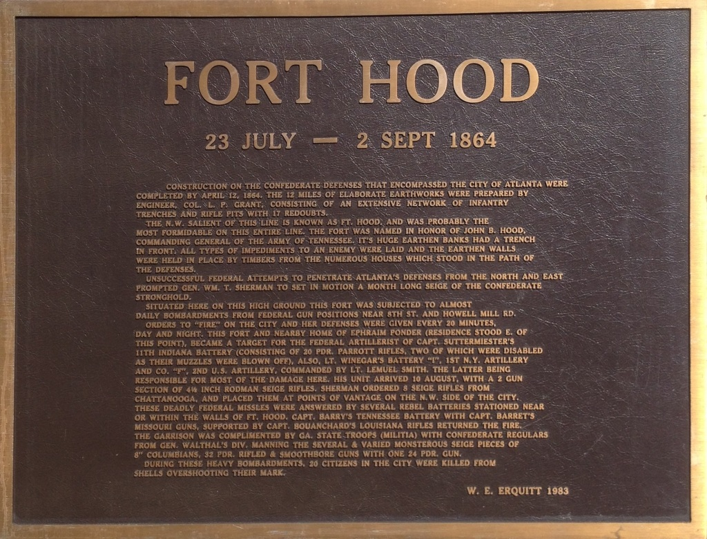 The plaque on the building at site of Fort X, aka Fort Hood - It is Currently Owned by Georgia Tech - History Atlanta 2014