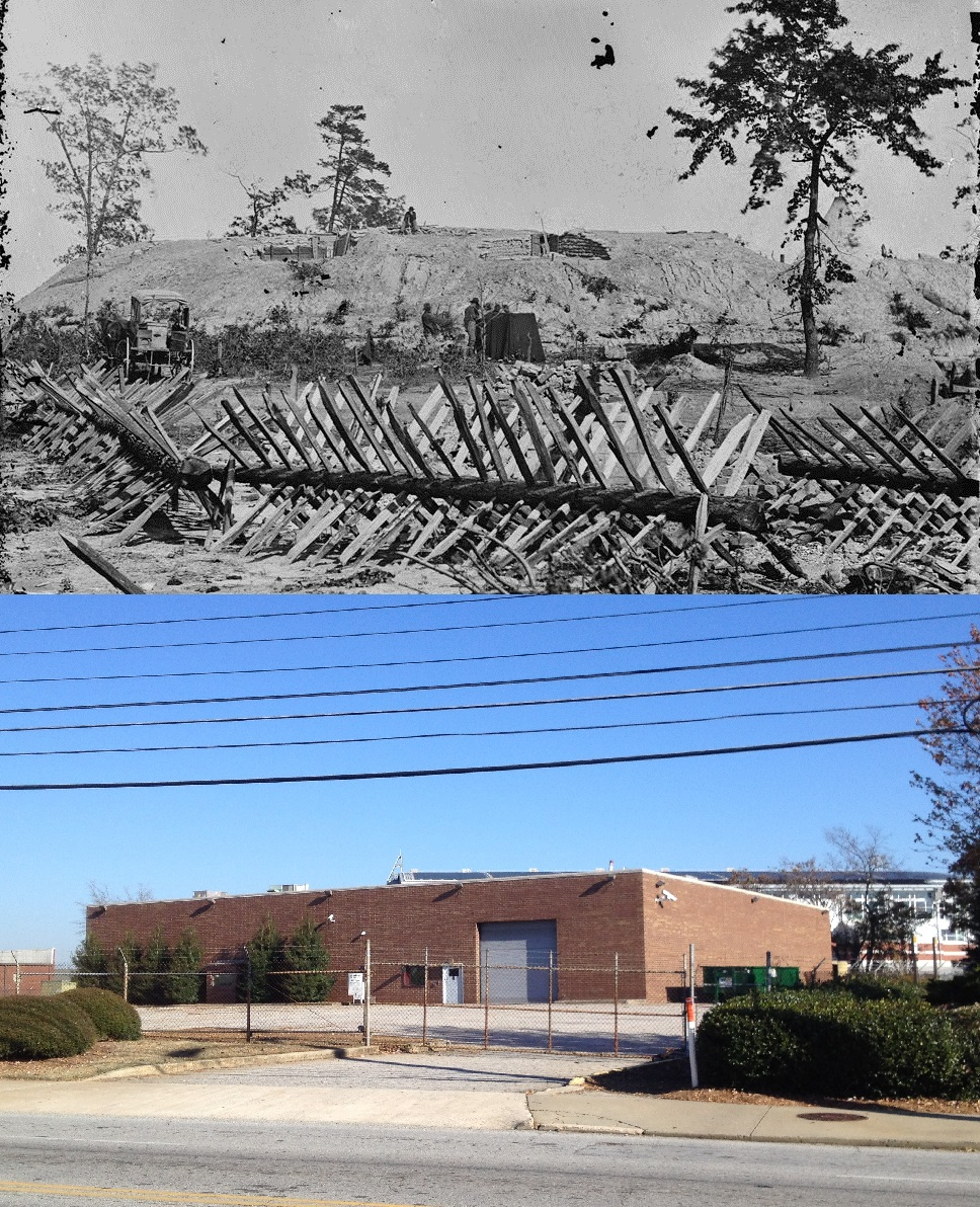 Top: A possible image of Fort X aka Fort Hood in 1864 which was on Marietta Street Bottom: The site of Fort X in 2014 - U.S. Library of Congress & History Atlanta