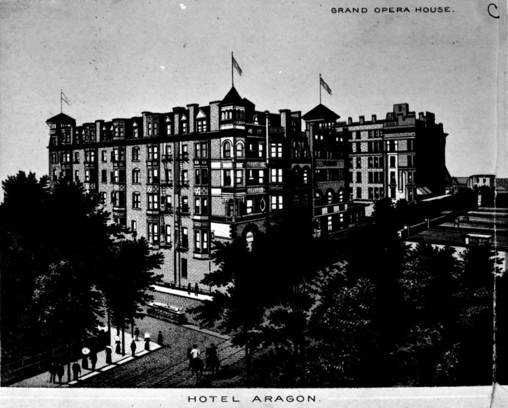 A Postcard of the Hotel Aragon in Downtown Atlanta in the 1890's -The Grand Opera House is in the Background - Georgia State University Library