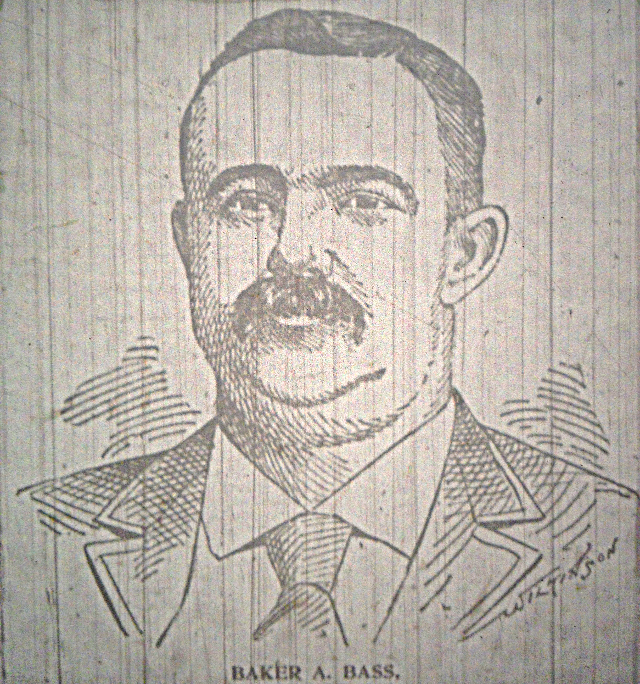 Baker A. Bass Who Was Gunned Down on an Atlanta street in 1895 - He ran a fence for stolen goods in the city - His murder revealed police corruption - Atlanta Constitution Rendering from September 1st, 1895
