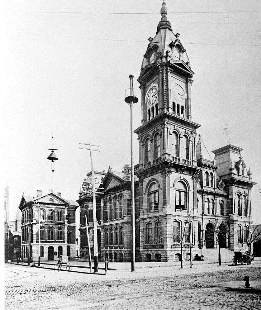 Fulton County Court House in 1895 - It was on the corner of Hunter Street, which is now Martin Luther King, Jr. Drive, and Pryor Street - Georgia State University Library