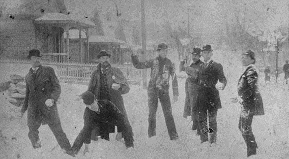 Medical students from the Atlanta Medical College in a snowball fight in Januray 1895 - Georgia Archives