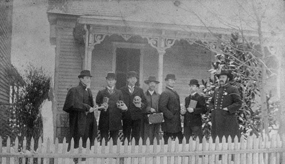 Students from the Atlanta Medical College pose for a photograph in January 1895 in front of 34 Hilliard Street - Georgia Archives