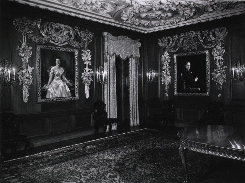 The Whitehead Memorial Room in a photograph by J.T. Jackson on August 21st, 1949. The portraits are of Conkey Pate Whitehead (right) and his mother, Mrs. Lettie Pate Evans (left). - U.S. National Library of Medicine