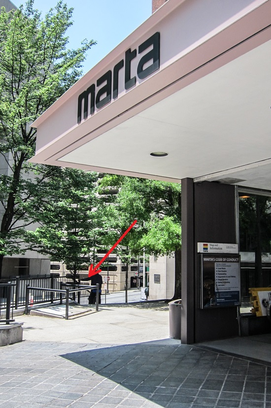 the southwest exit of the Peachtree Center MARTA station
